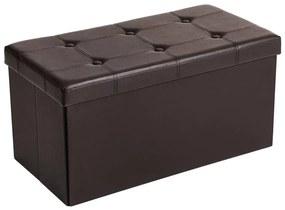 SONGMICS tároló pad, 2 személyes, teherbírás 300 kg-ig, műbőr, barna, 76x38x38 cm