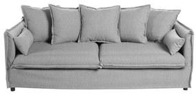 3 személyes szövet kanapé, párnákkal, halványszürke - GOBI