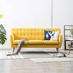 vidaXL 3 személyes sárga kárpitos kanapé 172 x 70 x 82 cm