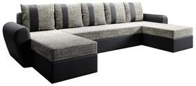 Univerzális ülőgarnitúra, fekete/szürkésbarna, LUNY ROH U