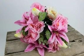 Rózsaszín csokor különféle művirágokból 45cm
