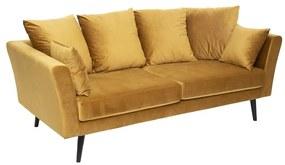 3 személyes bársonyszövet kanapé, 6 párnával, sárga - CASINO