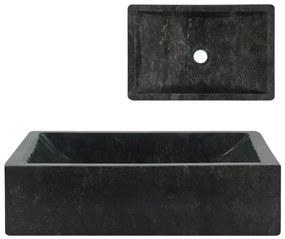 vidaXL fekete márvány mosdókagyló 45 x 30 x 12 cm