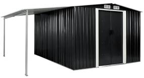vidaXL antracitszürke acél kerti fészer tolóajtókkal 386x312x178 cm