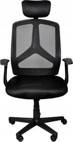 Állítható magasságú, fejtámlás, hálós, gurulós irodai szék, fekete