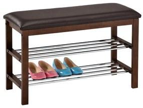 Cipőtartó ülőkével, 2-szintes, barna