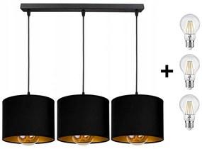 Glimex ABAZUR állítható függőlámpa fekete / arany 3x E27 + ajándék LED izzók