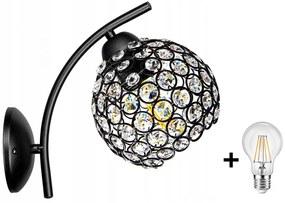 Crystal Ball fali lámpa fekete 1x E27 + ajándék LED izzó