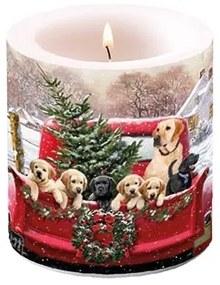 Karácsonyi átvilágítós gyertya Family Trip 8x7,5cm