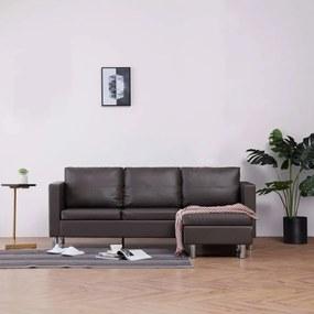 Háromszemélyes szürke műbőr kanapé párnákkal