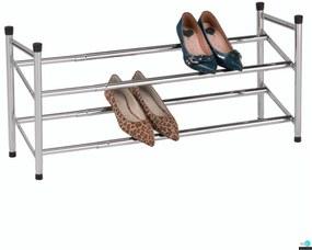 2-soros állítható cipőpolc, krómozott/fekete, TEA