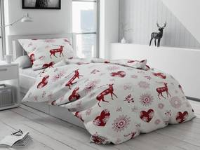 Karácsonyi pamut ágyneműhuzat Szív és rénszarvas
