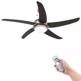 vidaXL díszes mennyezeti ventilátor lámpával 128 cm barna