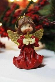 Piros felfüggeszthető angyal karácsonyfadísz 7cm