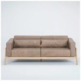 Fawn világosbarna kanapé bivalybőrből, tömör tölgyfa szerkezettel, 210 cm - Gazzda