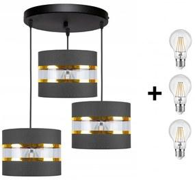Glimex ABAZUR állítható függőlámpa szürke 3x E27 + ajándék LED izzók