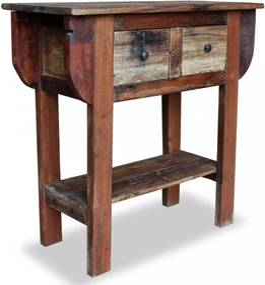 Tömör újrahasznosított fa tálalóasztal 80 x 35 x 80 cm