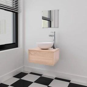 vidaXL 3 darabos fürdőszobai bútor és medence szett bézs