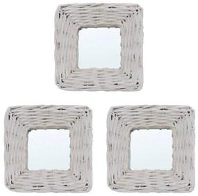 vidaXL 3 db fehér fonott vesszőkeretes tükör 15 x 15 cm