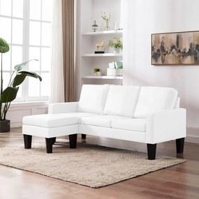 vidaXL háromszemélyes fehér műbőr kanapé lábzsámollyal
