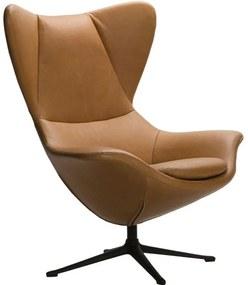 Shell fotel cognac bőr, fekete fém láb