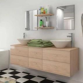 vidaXL 9 részes fürdőszobabútor szett mosdótállal és csappal bézs