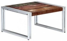 Tömör újrahasznosított fa dohányzóasztal 60 x 60 x 35 cm