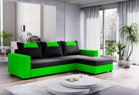 COOPER ágyazható sarok ülőgarnitúra, 232x144, fekete/zöld, mikrofáze04/U062
