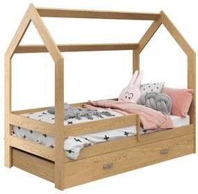 HÁZIKÓ D3 fenyőfa gyerekágy 80x160 cm Matrac: Matrac nélkül, Ágyrács: Ágyrács nélkül, Ágy alatti tárolódoboz: Tárolódoboz nélkül