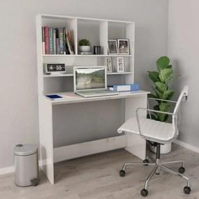 Magasfényű fehér forgácslap íróasztal polcokkal 110x45x157 cm
