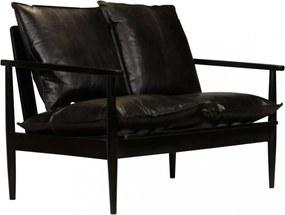 Fekete valódi bőr és akácfa kétszemélyes kanapé
