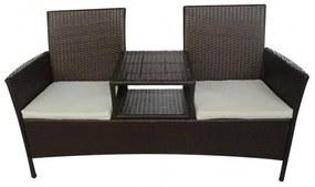 Barna kétszemélyes polyrattan kerti kanapé italtartó asztallal