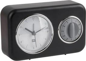 Nostalgia fekete asztali óra, konyhai időzítővel - PT LIVING