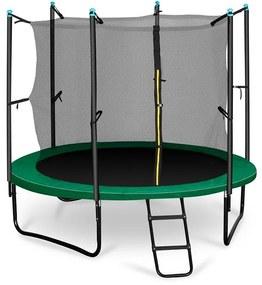 Rocketstart 250, 250 cm trambulin, belső biztonsági háló, széles létra, zöld