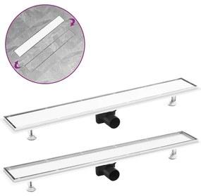 vidaXL rozsdamentes acél 2 az 1-ben zuhanylefolyó fedéllel 83 x 14 cm
