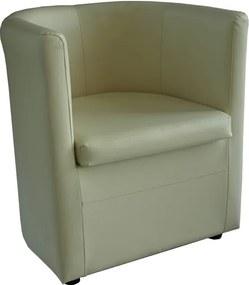 Klub fotel, bézs textilbőr, CALERA