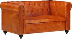 2-személyes sárgásbarna valódi bőr chesterfield-kanapé