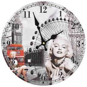 vidaXL vintage stílusú falióra Marilyn Monroe képével, 30 cm átmérőjű