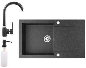 Gránit mosogató NERO Gold + magasított csaptelep + adagoló (fekete)