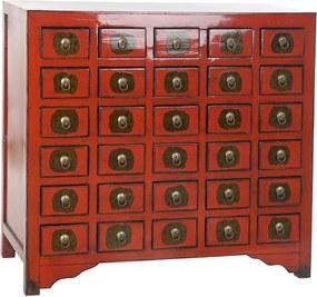 Sok kis fiókos szekrény szilfa piros