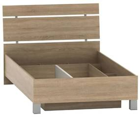 Ágy ágyneműtartóval, tölgy sonoma, 120x200, LUNA