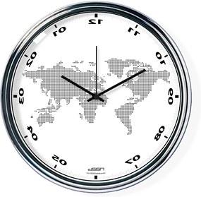 Fordított falióra világtérképpel - fehér, átmérő 32 cm | DSGN