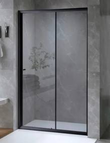 ARBO Glass elhúzható zuhanyajtó (tolóajtó) - fekete - 95 x 195 cm