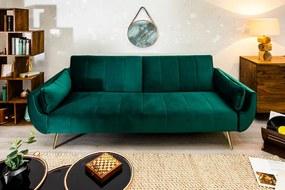 SKAGEN modern bársony kanapé - 215cm - zöld