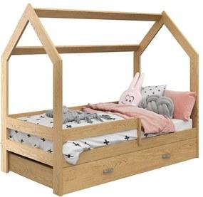 HÁZIKÓ D3 fenyőfa gyerekágy 80x160 cm Ágyrács: Ágyrács nélkül, Matrac: COCO 10 cm matraccal, Ágy alatti tárolódoboz: Tárolódoboz nélkül