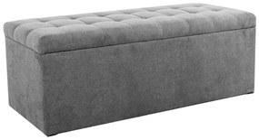 Ülőkés bársony tároló puff, 130 cm, szürke  - MADISON