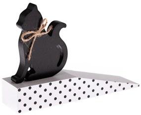 Fa ajtóütköző macskával, fekete pöttyös, 17,5 x 10 x 4 cm