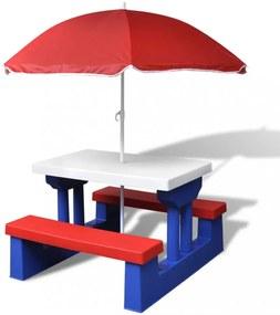 Gyerek piknikasztal esernyővel