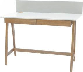 Luka fehér íróasztal kőrisfa lábakkal, hossz 110 cm - Ragaba