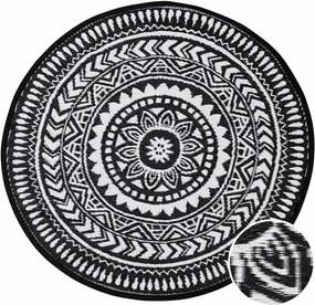 COLOUR CLASH kül- és beltéri szőnyeg, fekete-fehér Ø118cm